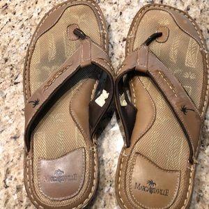 Margaritaville brown leather flip flops size 12